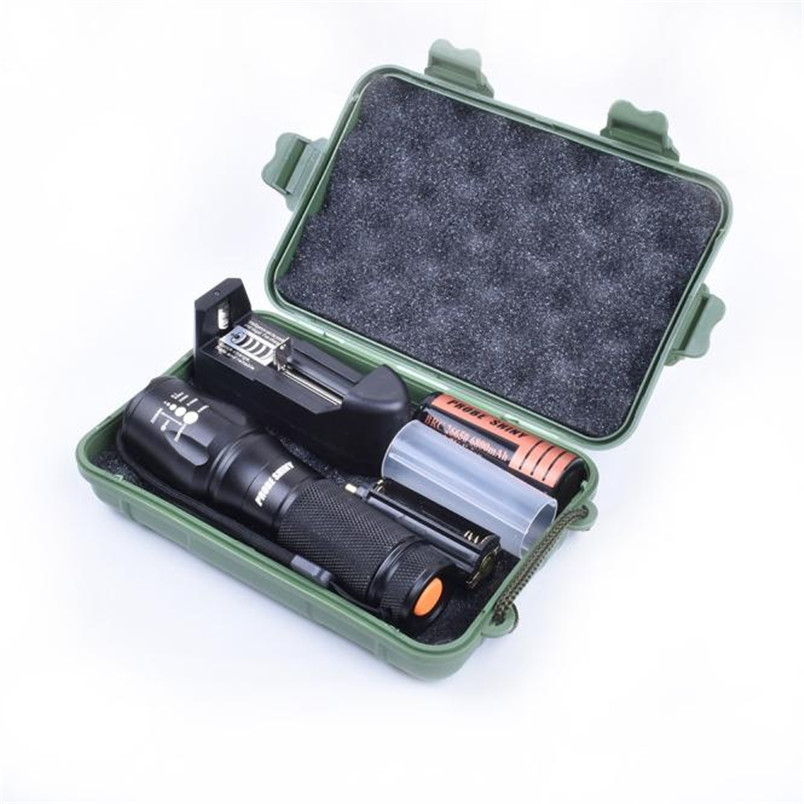2017 New X800 Zoomable XML T6 LED Tactical Flashlight+26650 Battery+Charger+Case 18650 AAA Focus Lamp Free Shipping NM01
