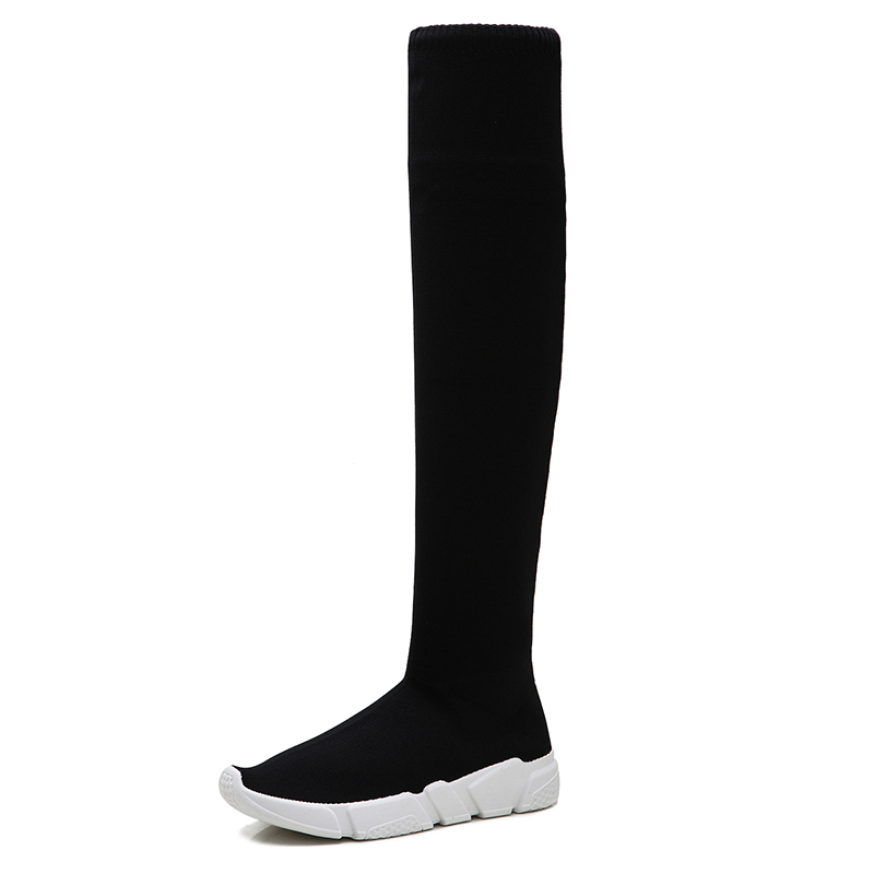 Over The Knee Women Sock Boots Platform Shoes 2019 Slip Stretch Fabric Flats Low Heel Elastic Thigh Black Fashion Socks WomanOver The Knee Women Sock Boots Platform Shoes 2019 Slip Stretch Fabric Flats Low Heel Elastic Thigh Black Fashion Socks Woman