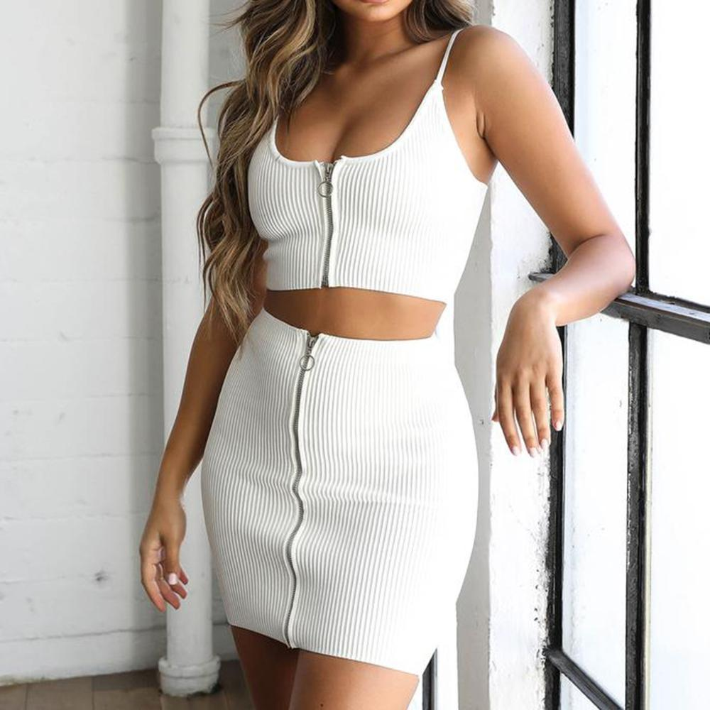 2019 Two Piece Set Women Solid Suit Sling Tops And Mini Skirt Beach Bohemia Sets Sexy Women 2ps Crop Top Skirt Sets Ad