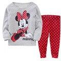Детская Одежда Устанавливает девушки пижамы костюмы девочка Мультфильм пижамы пижамы хлопка футболки + брюки Минни пижама p005