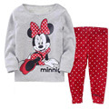 Children Clothing Sets girls pajamas suits baby girl Cartoon sleepwear pajamas cotton shirts+trousers Minnie pyjamas p005