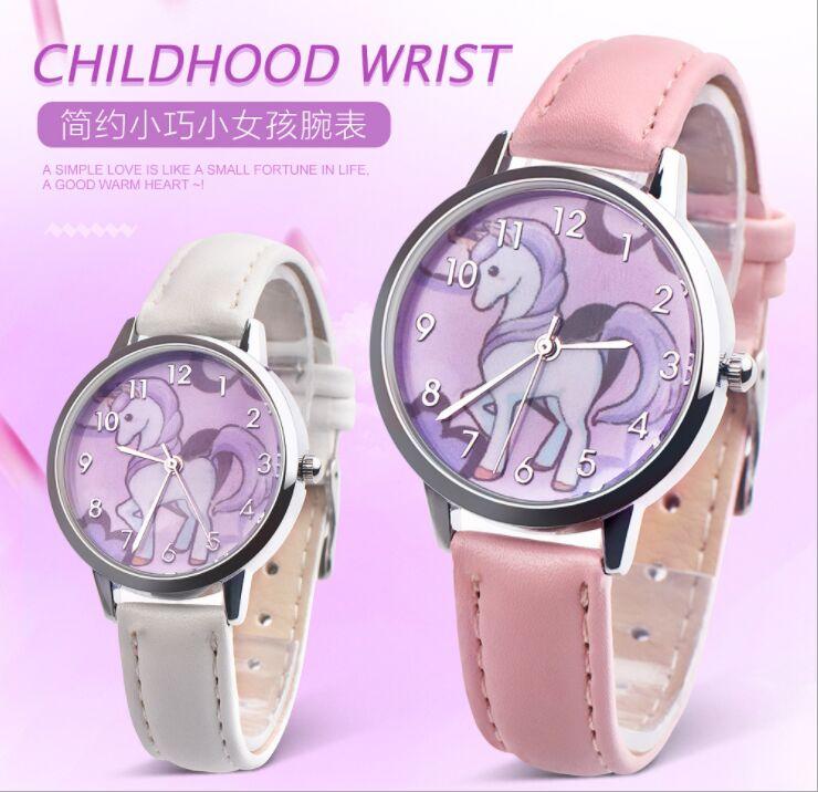 Children Watches Cute Unicorn Girl's Watch Kids Quartz Leather Band Student Wristwatches Women Clock Christmas  Gift Montre