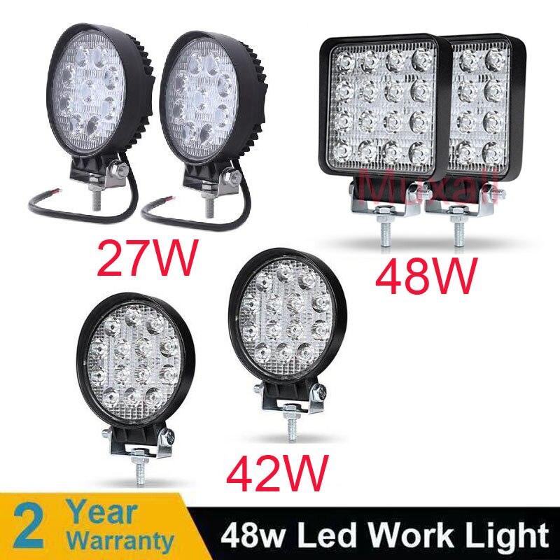 4inch 10cm 18W 27W 48W Offroad Car 4WD Truck Tractor Boat Trailer 4x4 SUV ATV 12V Spot Flood LED Light Bar LED Work Light