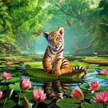 5d diy full diamond painting cross stitch  embroidery tiger mosaic animal Home Decor 20*20cm
