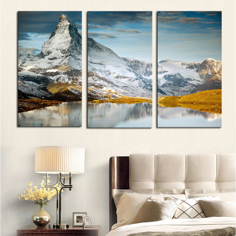 YSDAFEN 3 Panels Canvas Print High Mountain painting On ...