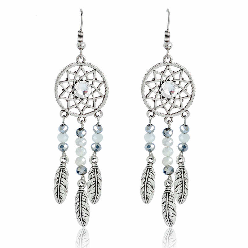 Hollow Earrings Ancient silver dream catcher Earrings Long Earring Dreamcatcher jewelry oorbellen Gift for women girl party
