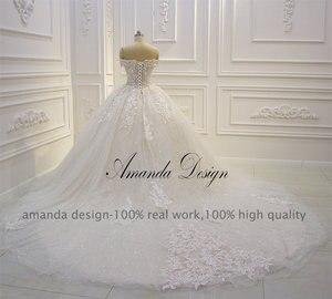 Image 3 - Amanda Design abiti da sposa Off Schulter Kurzarm Spitze Appliqued Pailletten Hochzeit Kleid