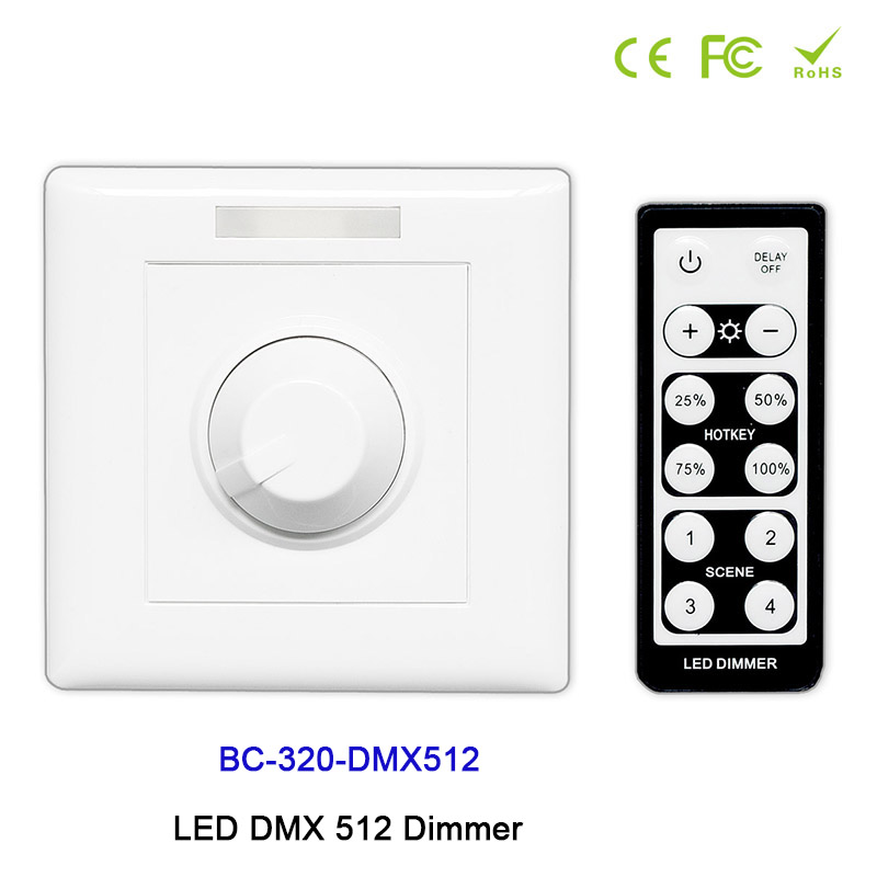 цена на BC-320-DMX512 DC12V-24V Wall-mounted Knob style with IR remote LED DMX 512 Dimmer manual switch led dimmer for led strip light