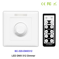 BC 320 DMX512 DC12V 24V Wall mounted Knob style with IR remote LED DMX 512 Dimmer manual switch led dimmer for led strip light