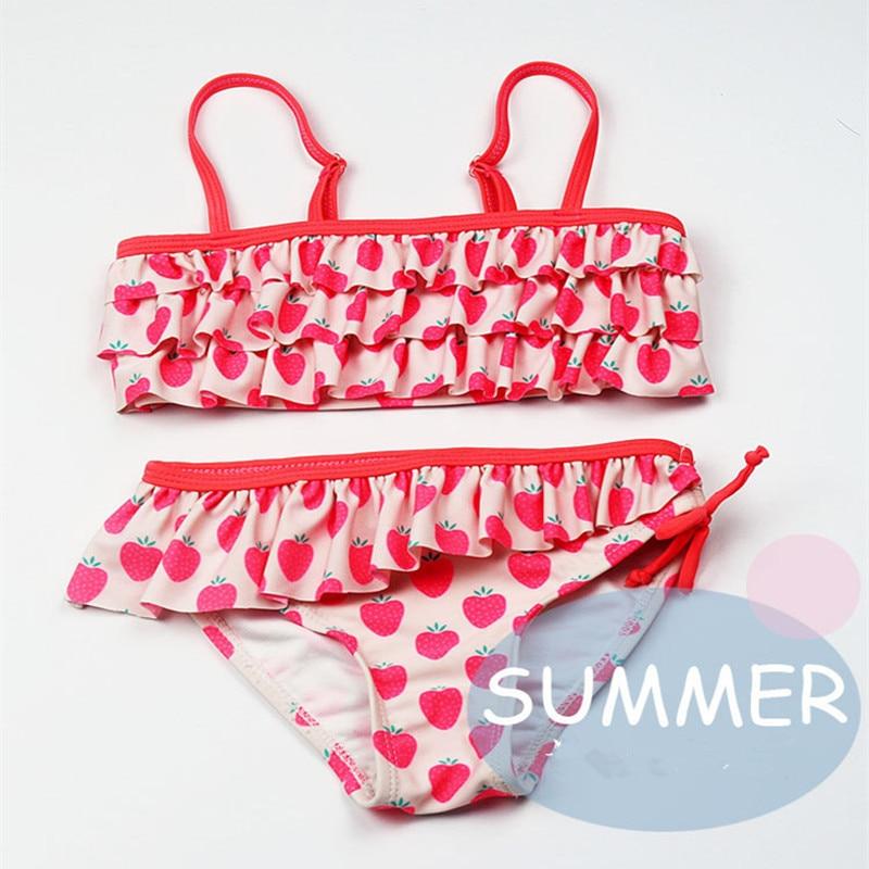 Funfeliz Girls bikini 2-10 Years Two Pieces Ruffle Swimsuit for New Kids Swimwear Cute Strawberry Print Children Bikini