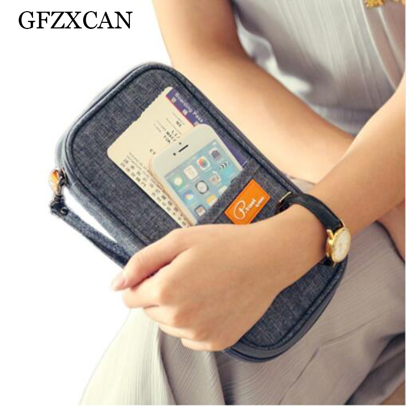 brand multi-function men and women waterproof passport holder fashion travel multi-pocket folder bag