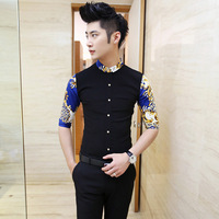 Mens Floral Shirt 2015 4 Colors Blue White Black Patchwork Floral Shirt Men Mid Sleeve Club