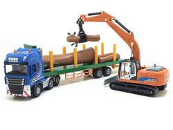 1:50 Die Cast модели автомобилей игрушки для Chldren сплав инженерной транспортного средства автомобиля mkd3 низкорамный прицеп с Digger/ ролик