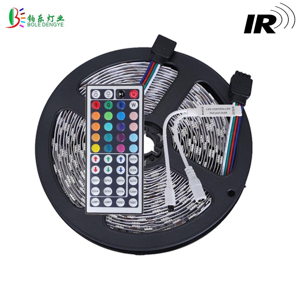 BOLE DENGYE 15M 5050 RGB LED Strip Non Waterproof 10M 5M Flexible Tape 44 Key Remote RGB Controller Decoration Light No Adpater
