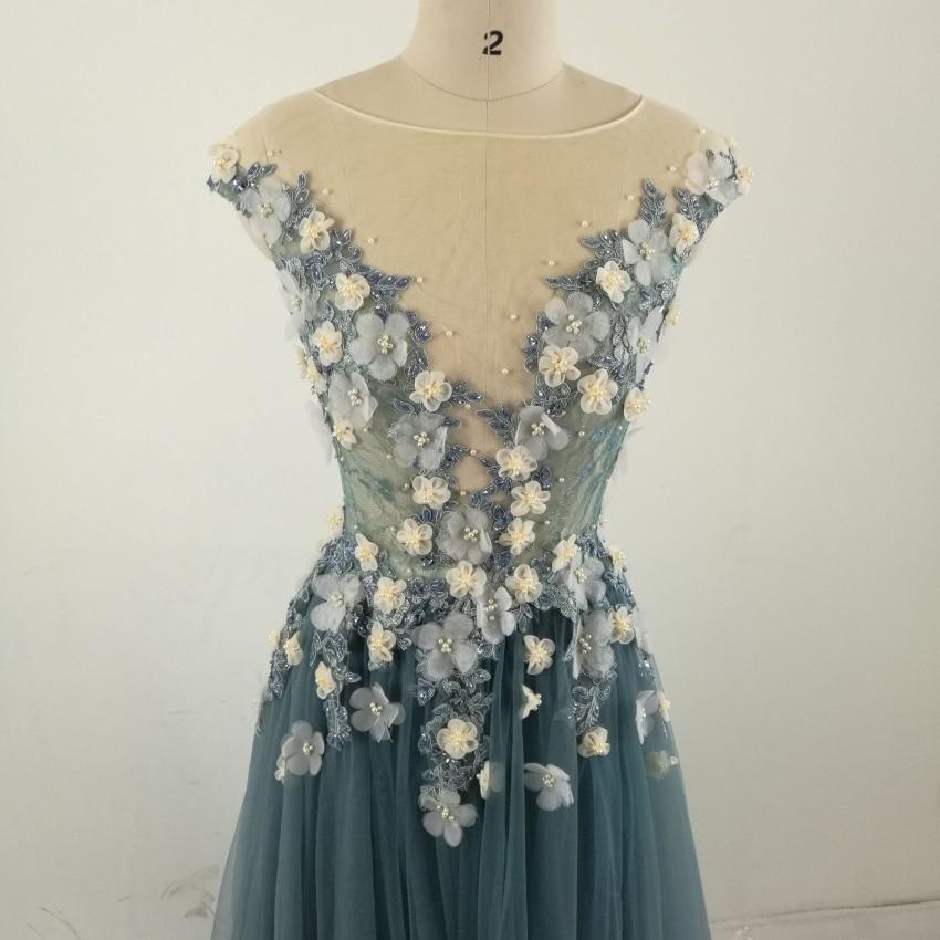 Echte foto Formele lange mouwen jurk Zie door Back Beading bloemen - Jurken voor bijzondere gelegenheden - Foto 5