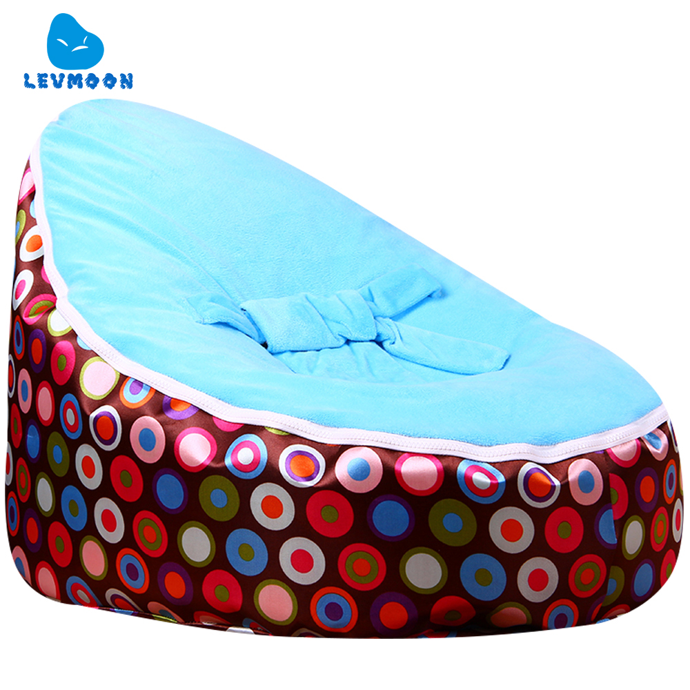 цена на Levmoon Medium Brown Circl Beanbag Bean Bag Chair Kids Bed For Sleeping Portable Folding Child Seat Sofa Zac Without The Filler