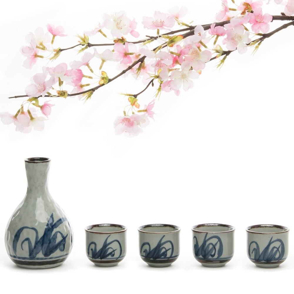 Sada čínského čaje pohár ručně vyráběné keramiky Sake hrnec + 4 saké poháry 5ks 200ML keramiky porcelánový saké sada keramiky čajové šálky čajové konvice sada