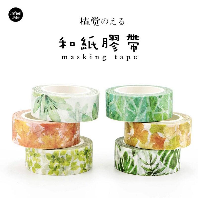 Green Plants Series 15 Mm X 7 M Washi Tape Children DIY Diary Decora Masking Tape Stationery Scrapbooking Tool Stationery