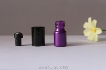 2ML100pcs/lot Mini Portable Purple Shading Scent Bottle, Glass Essential Oil Roll On Bottle, Steel Roll On Cosmetic Serum Bottle