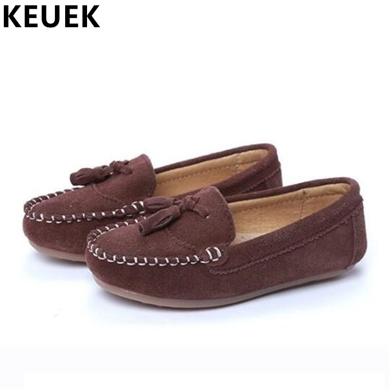 NEW Vintage Cowhide Children Shoes Genuine Leather Loafers Autumn Casual Boys Tassel Breathable Flats Kids Moccasins 04
