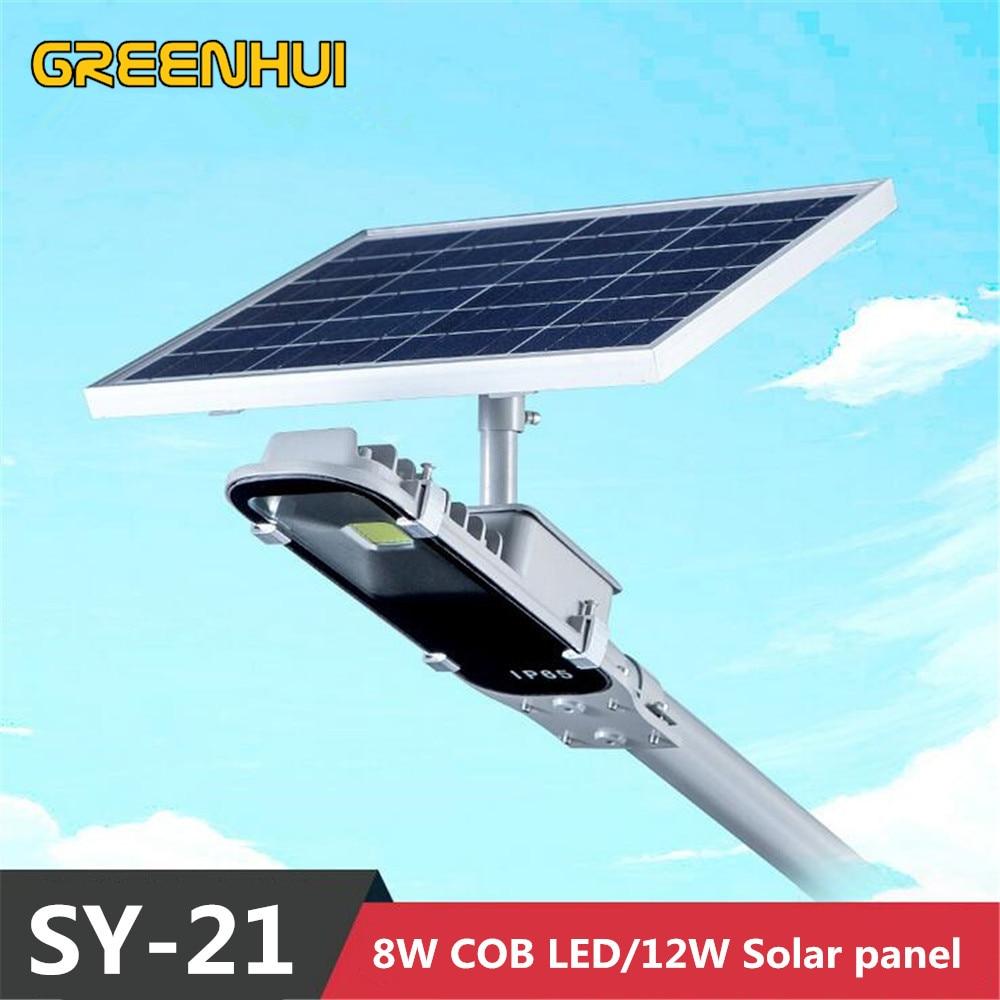 все цены на Super Bright 8W Cob LED Street Light 12W Solar Power Panel Ray+Time control Wall Waterproof Outdoor Garden Path Spotlight
