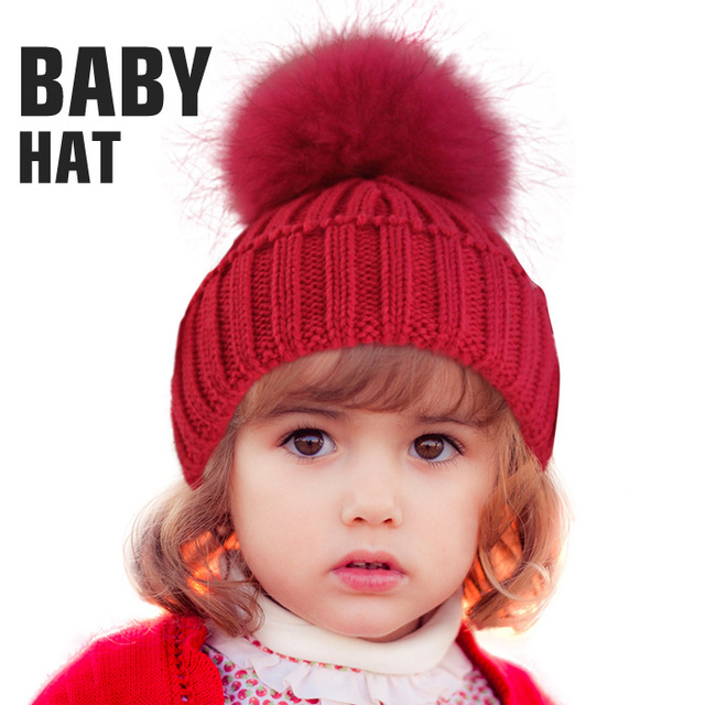 Free Shipping  Winter kids real fur pom poms hats