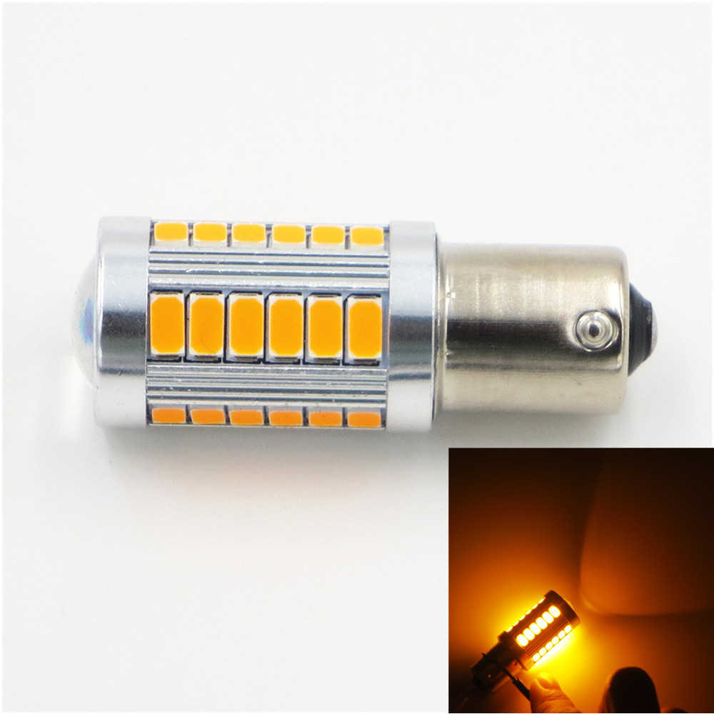 CYAN SOIL BAY 5630 33 SMD 33SMD LED Car Turn Signal Brake Tail Light Bulb 1156 Socket Amber Yellow Orange BA15S P21W Fog Lamp cyan soil bay amber yellow red h1 4014 led 92 smd high power car fog driving light bulb lamp