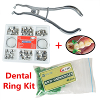1 Set?Dental?Ring?Kit Matrixs Sectional Contoured Metal Matrices No.1.398 2 Rings 40pcs Silicone Add on Wedges Oral Material