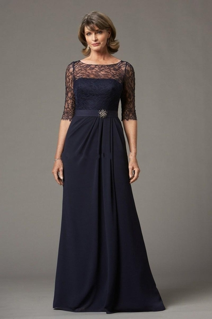 29056bad2e69 2017 Beautiful Spring Summer Mother dress Beautiful Chiffon Dark Blue Half  Sleeves Lace Mother of The