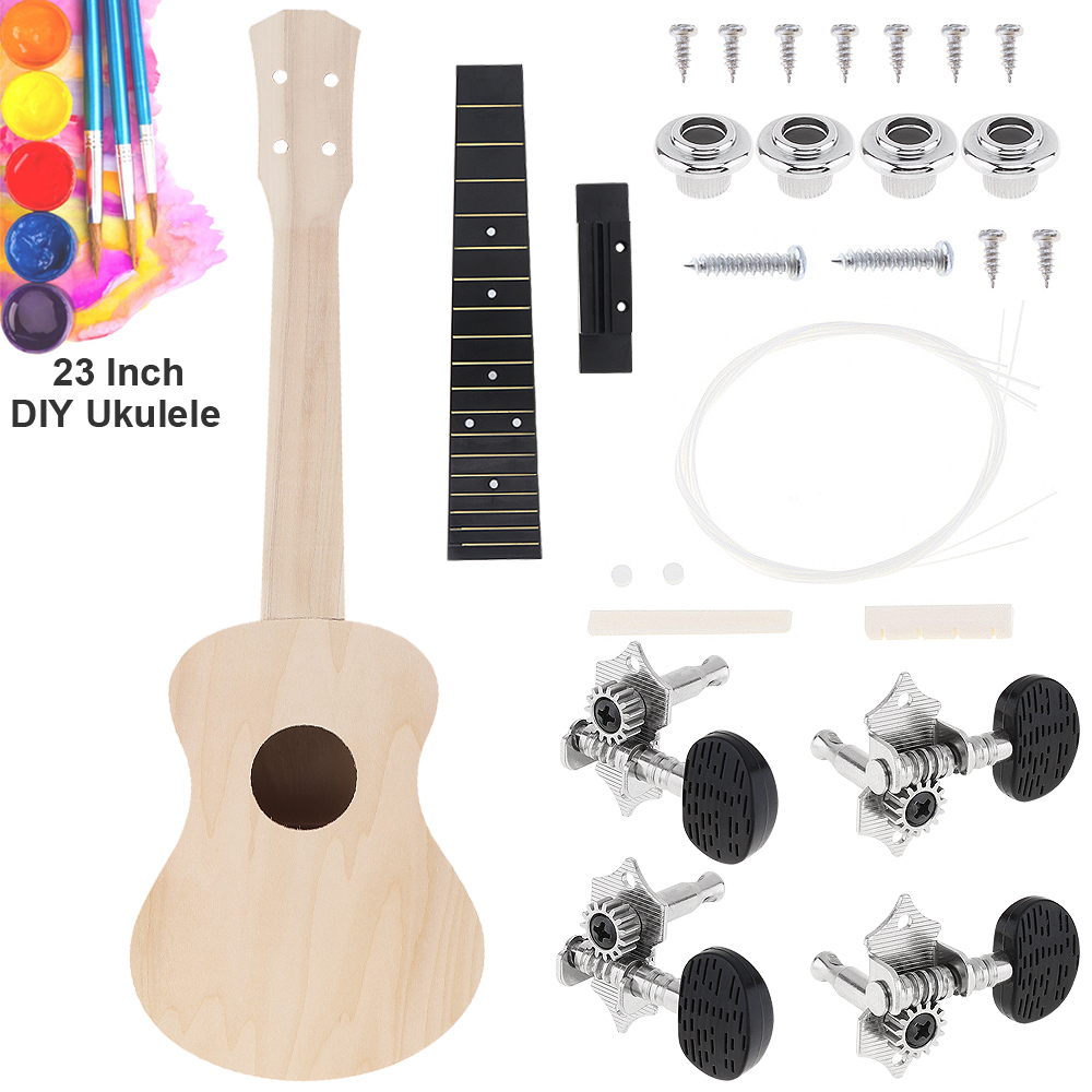 23 Inch Ukulele Basswood DIY Kit Concert Hawaii Guitar for Handwork Painting Parents-child Campaign