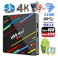 H96 Max + Plus RK3328 4GB Ram 32GB Rom Android 8.1 USB 3.0 Smart TV Box 2.4GHz WiFi Set Top Boxes 3D 4K HD H.265 Media Player