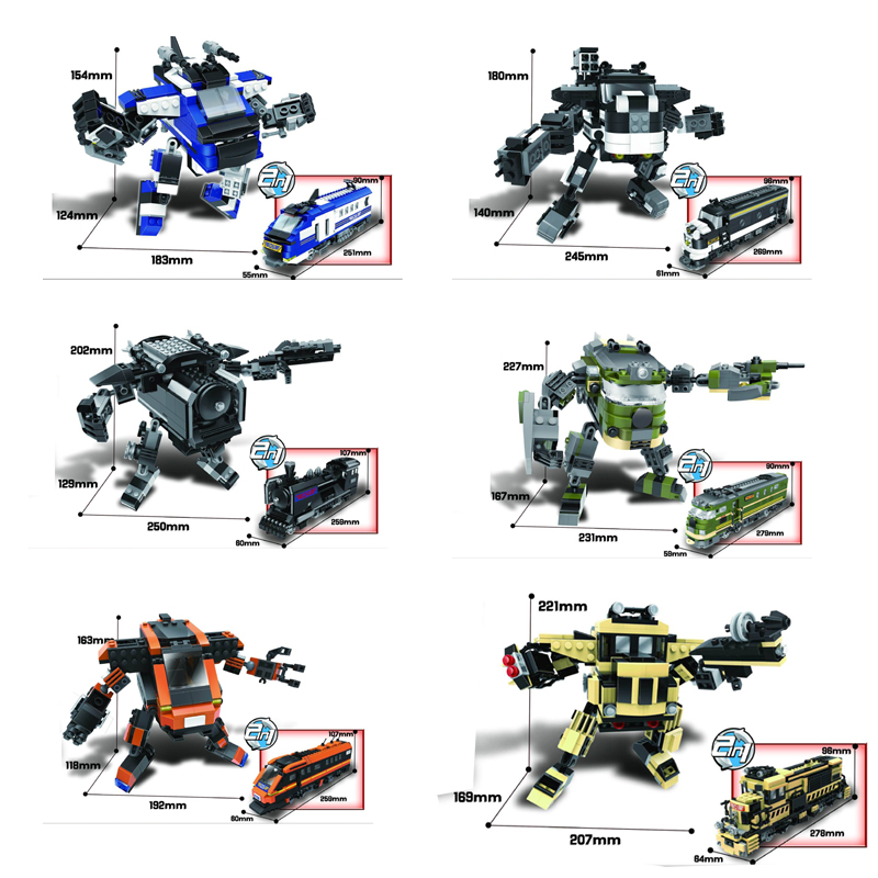 New Super train robot transformation 2in1 building block figures Locomotive model bricks educational toys for kids gifts thinkeasy 8 pcs set puzzle transformation star wars space cars prime bruticus action figures block toys for kids birthday gifts