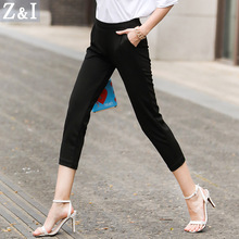 Leggings Trousers Women 2017 Summer Autumn Black Pencil Pants Mid Waist Office Skinny Trouser Elastic Waist Female Capris Linen