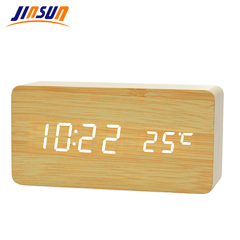 JINSUN Moderní senzor Dřevěné hodiny Duální led displej Bambusové hodiny digitální budík Led Show Temp Time Voice Control Wekker KSW104