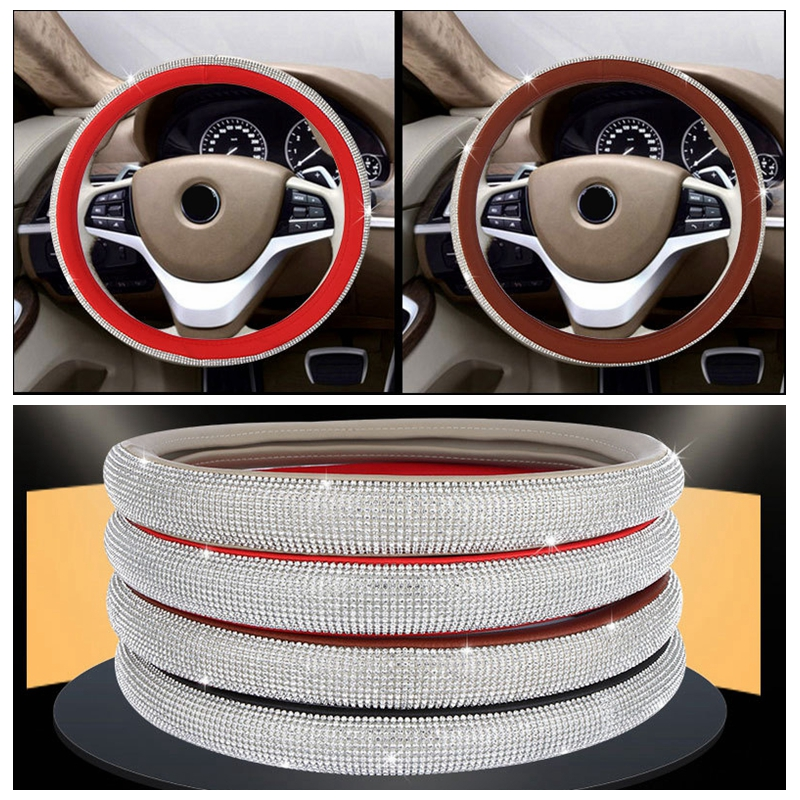 ₪New Car Steering Wheel Cover diamond car-styling corium red set ...
