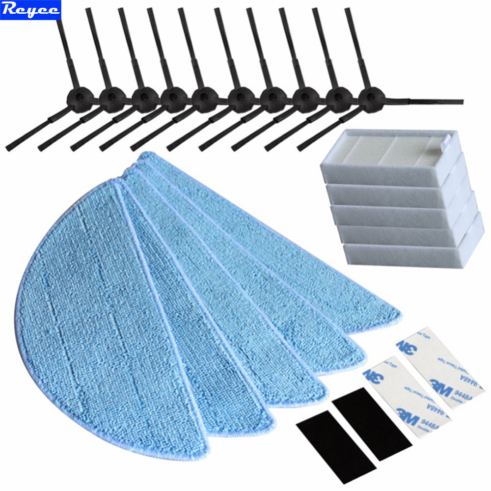 10*side Brush+5*hepa Filter+5*Mop Cloth+4*Velcro for chuwi ilife v5s ilife v5 pro ilife x5 V3+ V5 V3 v5pro vacuum cleaner parts