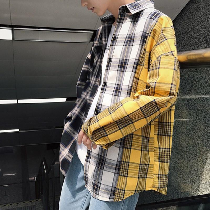 Men Shirt Harajuku Plaid Patchwork Shirts Men High Street Hip Hop Oversized Casual Shirt Male Plus 5xl