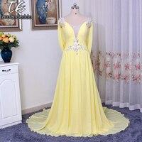 Diamantes con piedras falsas v-cuello cristales vestido de noche amarillo espalda abierta recoger envuelve una línea Tribunal tren vestidos de baile reales