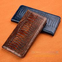 Luxury Ostrich Foot Grain Phone Case For Samsung Galaxy Note Edge N9150 Flip Cover Stand Luxurious Genuine Leather Case
