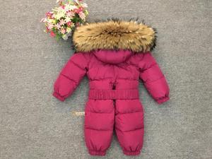 Image 3 - Russia Winter Newborn Baby Hoodie Big Fur Collar Boys Warm Outerwear Jumpsuit Baby Clothing Parka Snow Wear Girls Coats Jacket