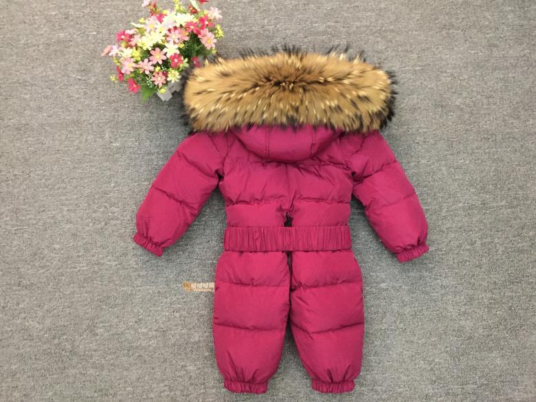 Russie hiver nouveau-né capuche pour bébé grand col en fourrure garçons chaud survêtement combinaison bébé vêtements Parka neige porter filles manteaux veste - 3