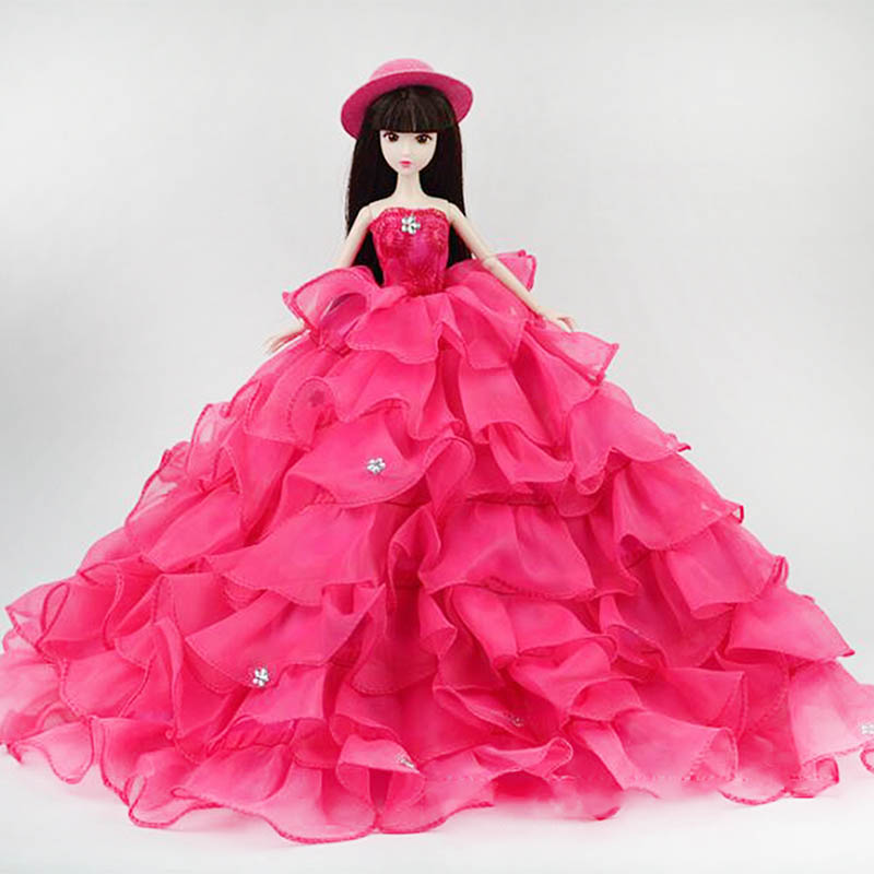 Social gathering Gown Princess Robe for Barbie Doll with Hat Attractive Colourful Multilayer Gown For Barbie Doll christmas Reward Child Toy