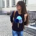 2016 Rússia Inverno Mulheres Outono Camisolas Com Capuz Moda Tridimensional sorvete Impressão o pescoço Pullovers Mulheres Camisola