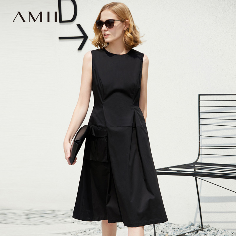 Amii Women Minimalist Summer Dress 2018 Solid A Line O Neck Sleeveless Pocket Female Dresses