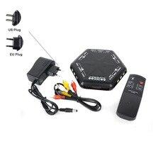 Um Conjunto de 5 Vias Porta 4 EM 1 Out RCA S Video-Audio Do Jogo Caixa de Interruptor AV Selector Splitter com Controle Remoto EUA ou UE Plug AC
