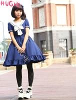 Sweet Lolita Dress with bow Blue Sailor Style Girl Asibuto Penta OP Japanese summer One Piece Lolita Dresses