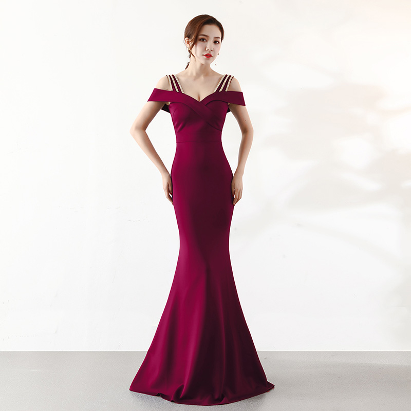 Wine Red Diamonds Spaghetti Strap Off The Shoulder Long Mermaid Elegant Dress Women For Wedding Party Sexy Cocktail Club Dresses