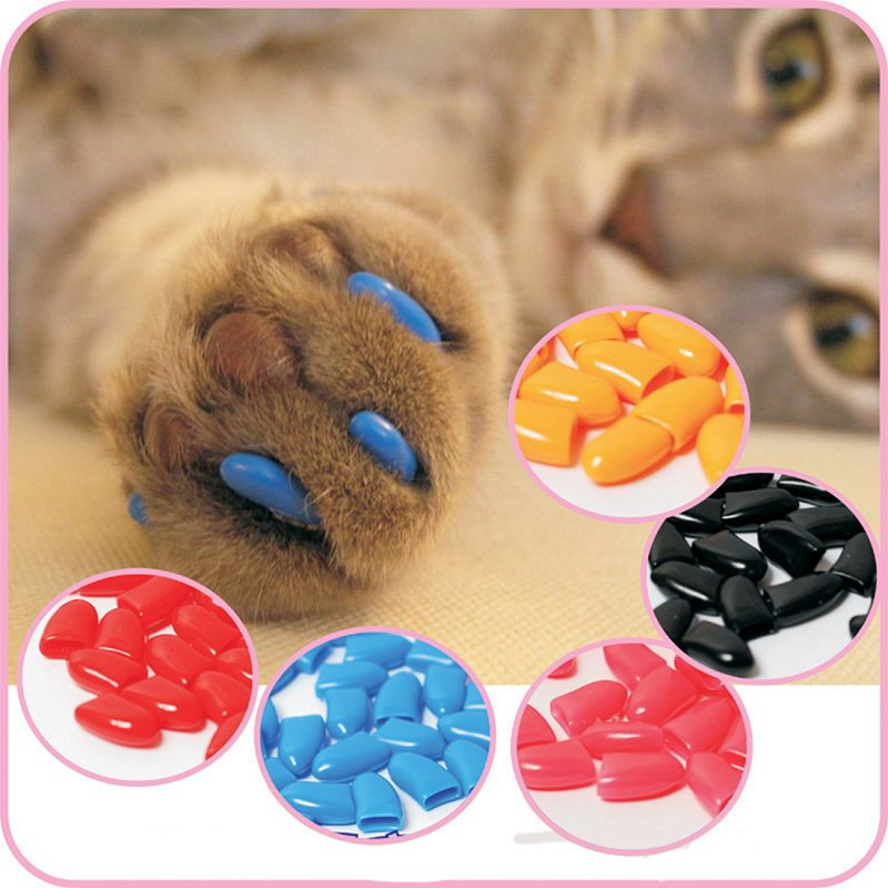Hot sale 20Pcs/Lot Colorful Soft Rubber Pet Dog Cats Kitten Paw Claws Control Nail Caps Cover Size XS-XXL With Adhesive Glue