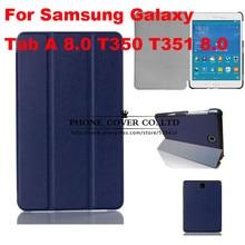 Imán de lujo del soporte cubierta de cuero de la pu case para samsung galaxy tab un 8.0 T350 T355 SM-T355 tablet funda casos + protector de pantalla