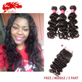 3Pcs Hair Bundles Brazilian Wavy With Lace Closure ( Free/Middle/3Part) Unprocessed Lace Closure With Brazilian Virgin Remy Wave